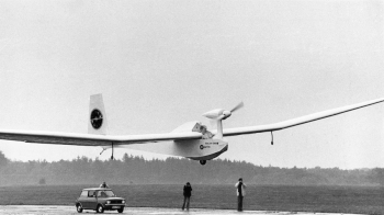 The world's very first solar-powered flight at Lasham in 1978